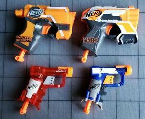 NERF-Lot-of-4-Micro-Shots-amp-Jolt-Blasters-Single-Shot