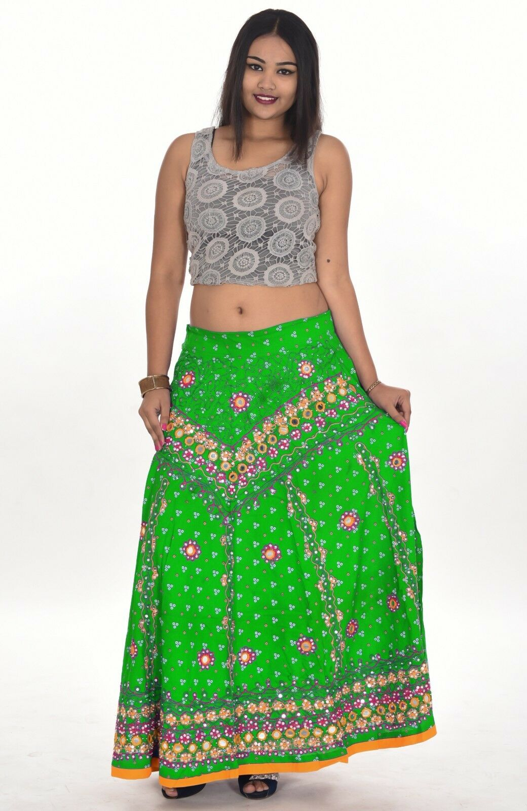 Indian 100% Cotton Women's Long Skirt Hippie Plus Size Embroidered Green color