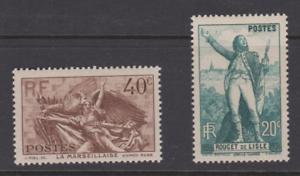 FRANCE-N-314-315-ROUGET-DE-L-039-ISLE-MARSEILLAISE-MNH-COTE-19-50