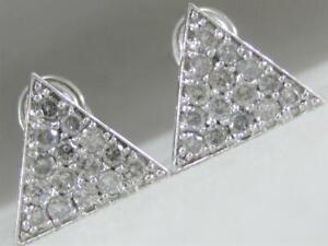 bbe66f859 LARGE MODERN 1.50CTW PAVE DIAMOND 14KT WHITE GOLD TRIANGLE STUD ...