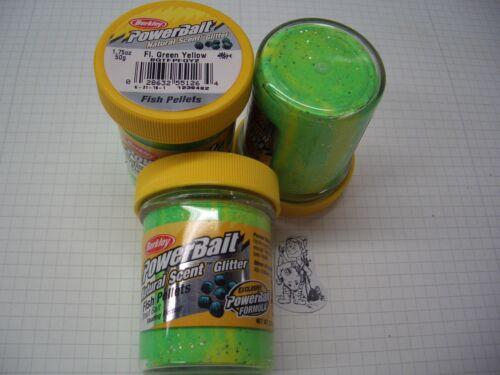 Berkley Power Bait Trout Bait Glitter Fl.GreenYellow Pell 3x50g-Glas 100g//6,66€