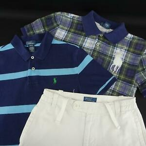 Boy-Kid-Polo-Ralph-Lauren-2-Shirts-White-Khaki-Chino-Shorts-Lot-Size-Medium-10