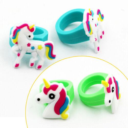 2//10Pcs Cartoon Unicorn Silicone Finger Ring Band Kids Party Favor Gift Random