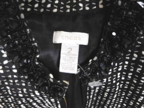 Med And Ribbon amp; Full Black W Zip Collar Jacket Bead White Jet Chicos Rhinestone AqOwxRx