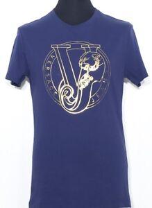VERSACE-JEANS-T-SHIRT-BLU-ORO-BLUE-Oro-Blu-Print-M-nuovo-con-etichetta