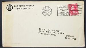 US-Postal-History-Envelope-Ny-Fifth-Avenue-Address-Stamp-1922-USA-Letter-Y-95
