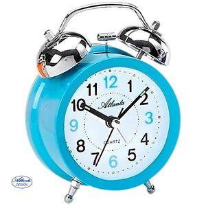 Atlanta-1743-5-despertador-cuarzo-Reloj-DE-Campana-Doble-Azul-claro
