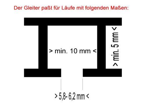 Profi Click Gardinen Gleiter für 6 mm Lauf 32 mm lang überall einzuklicken