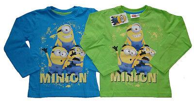 Minions Shirt Jungen Langarm 104 110 116 122 128 134 grau blau Baumwolle Minion