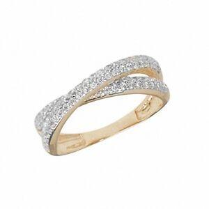 Crossover Ring Gelbgold Ewigkeit Ring Damen Hochzeit Jubilaum Ring
