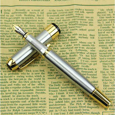 Vintage Luxury Golden & Silver Stainless Steel Fountain Signature Pen Medium Nib