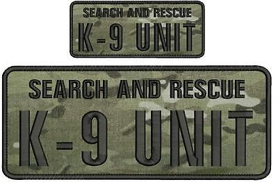 Search and Rescue K9 UNIT embroidery patches 4x10 and 2x5hook grey