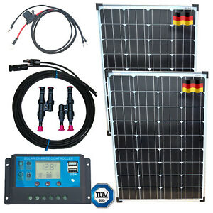 200W-Solar-Kit-Panel-USB-Controller-Pre-Made-Cables-German-Solar-Cells
