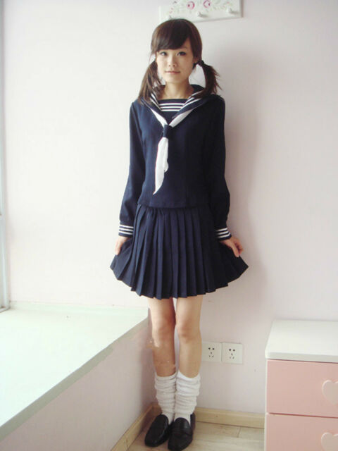 Japan School Girl Blue Long-Sleeved Uniform Cosplay Costume New-T056