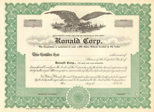 Ronald-Corp-gt-New-Jersey-stock-certificate-gt-scripophily-share