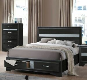 Details about Eastern King Size Bed Contemporary Style Rich Black Storage  Bedroom Furniture