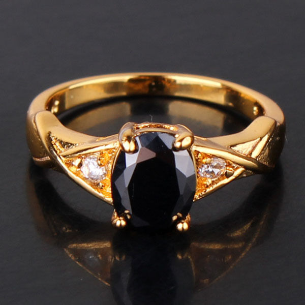 Classic 24k yellow gold filled black swarovski crystal promise RING Sz5-Sz9