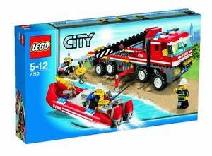 Ref.7213 Le Camion Transport De Bateau Pompiers - Lego City