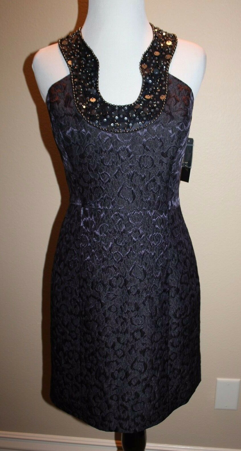 Laundry by shelli segal halter style navy bluee key hole beaded dress 4 New w tag
