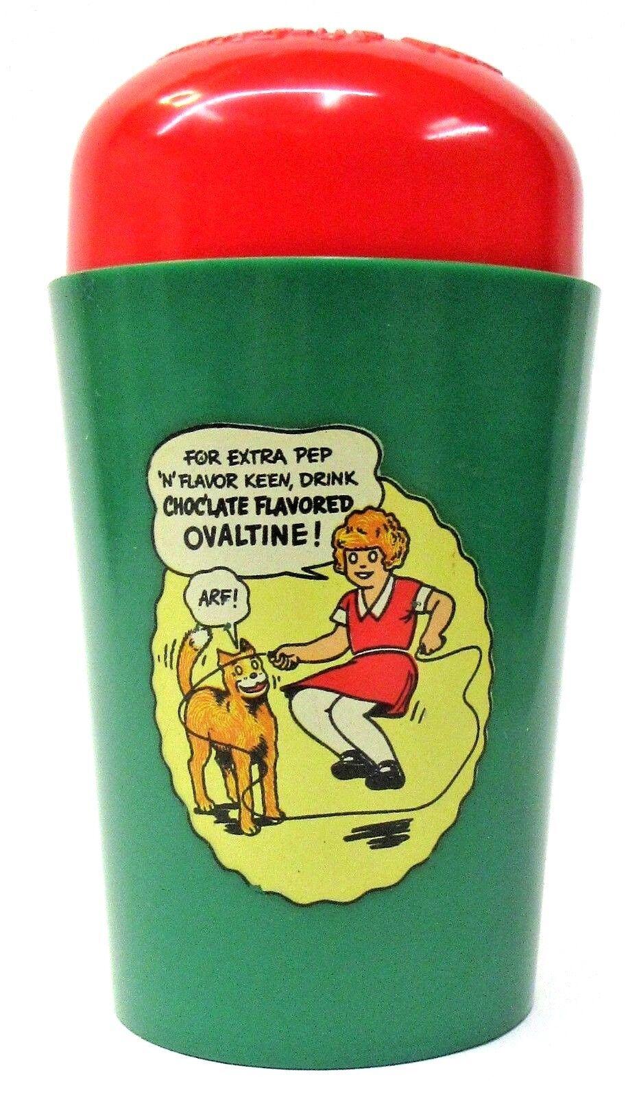 1939 LIKA ORFAN ANNIE gröna SKIPPING ROPE Ovaltine Shake up Mug cup premium