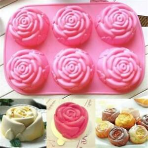 6-Cavity-Silicone-Silicon-Rose-Soap-Molds-Cake-Chocolate-Candy-Jelly-Mould-CL