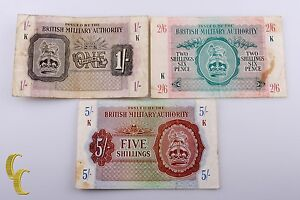 1943-N-Africa-British-Military-Authority-3-Pc-Note-1-2-1-2-5-Shillings-F-VF