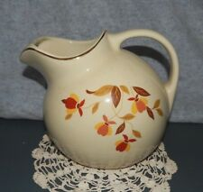 HALL'S JEWEL TEA AUTUMN LEAF BALL WATER PITCHER JUG Superior Kitchenware Ice Lip