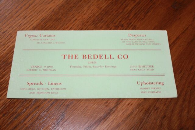 Vintage Advertising  Ink Blotter Card > The Bedell Co. Detroit,Michigan. Linens