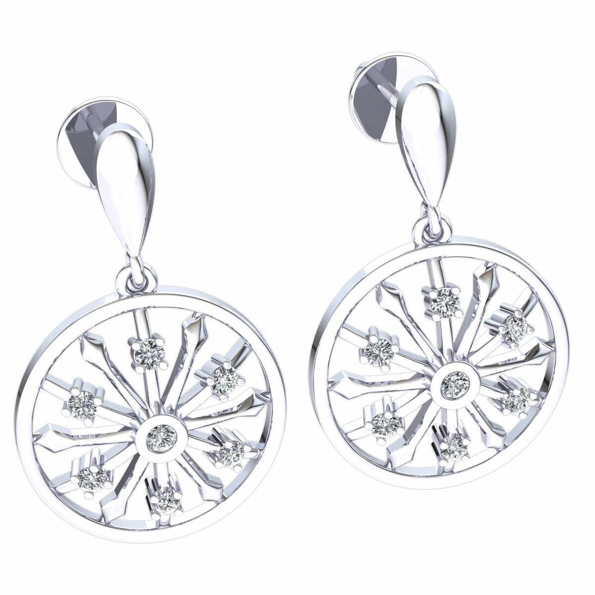 Natural 0.15carat Round Cut Diamond Ladies Start Circle Earrings 18K gold