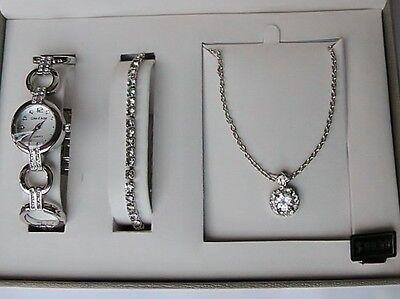 Schmuckset Cote D` Azur Uhr Halskette Armband Silber Strasssteine Neu Uvp 99,99