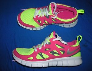 reputable site b6368 a7948 Details about Nike Free Run 2.0 GS Running Shoes Sneakers Pink Yellow White  Youth 5.5 Womans 7