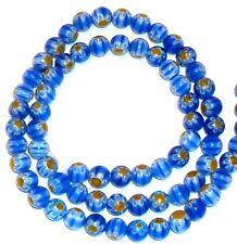 "G855f Blue w Yellow White Flower 6mm Round Millefiori Glass Round Bead 15"""