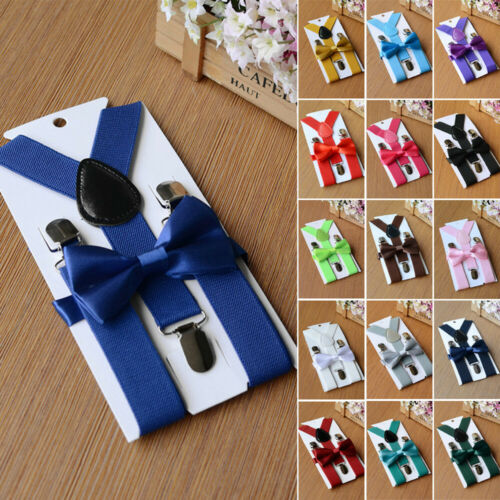 Formal Wedding Cute Suspender And Bow Tie Matching Set For Baby Toddler Kids Boy