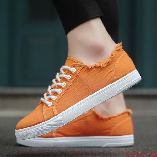 Stylish Mens Canves Breathable lace up sneaker Athletic preppy casual shoes New