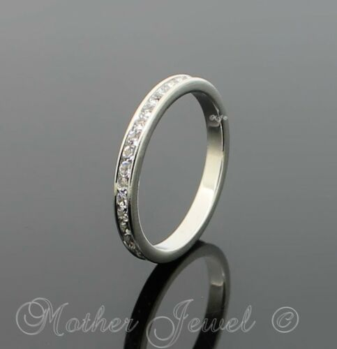 SIMULATED DIAMOND WEDDING BAND ETERNITY STERLING SILVER PLATED MENS LADIES RING