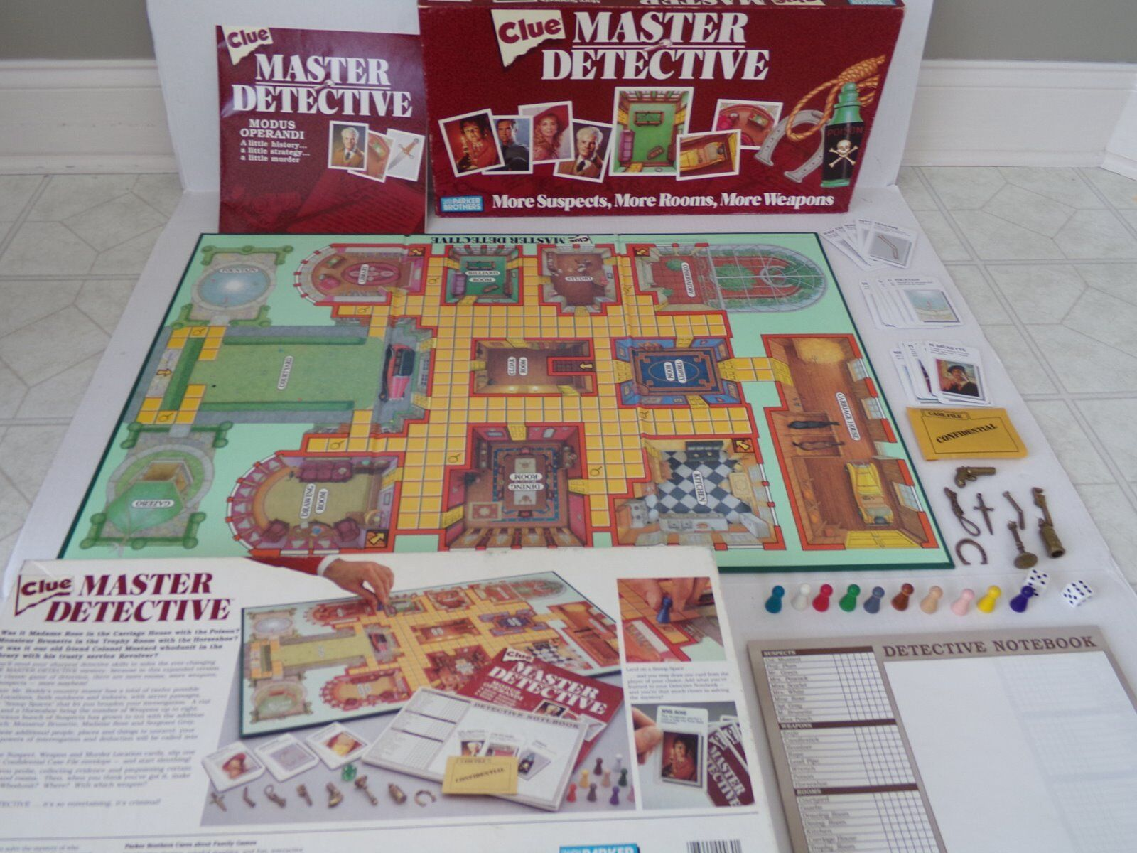Vintage 1988 Parker Brougehers CLUE MASTER DETECTIVE Board Game 100% Complete