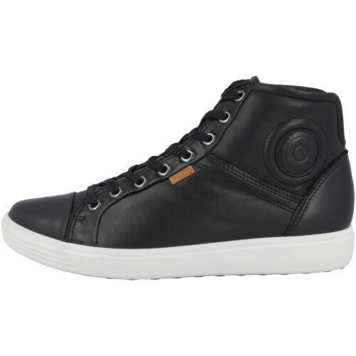 Ecco Soft 7 Mid Ladies Schuhe Damen Leder Halbschuh Sneaker black 430023-01001
