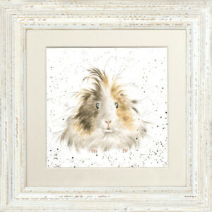 Wrendale-Designs-034-Style-Queen-034-Guinea-Pig-23cm-Framed-Picture-FCS040-White