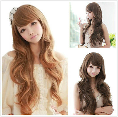 New Brown/Black Fashion Women Long Wavy Curly Oblique Bangs Cosplay Full Wig+Cap