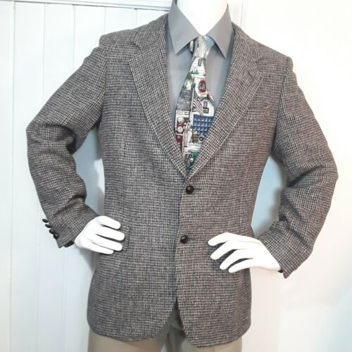 Vtg HARRIS TWEED Brown Dogtooth WOOL TWEED Mens Bl