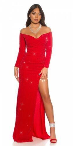 Koucla Kleid Abendkleid Red-Carpet Party Glitzerkleid mit Beinschlitz