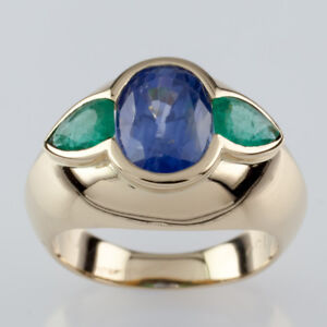 Natural-Sapphire-and-Emerald-18k-Yellow-Gold-Ring-w-GIA-Cert-Size-5