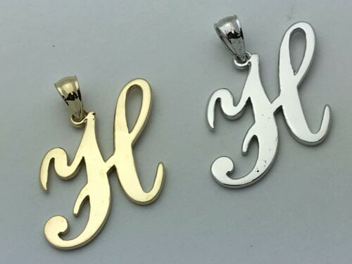 White /& Rose Gold 14k Gold Initial Letter H Charm Pendant A-Z in Yellow