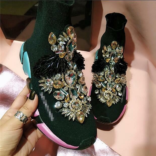 Embroidery Tassel Sneaker shoes Women Sock Yellow Ankle Boot Rhinestone S380