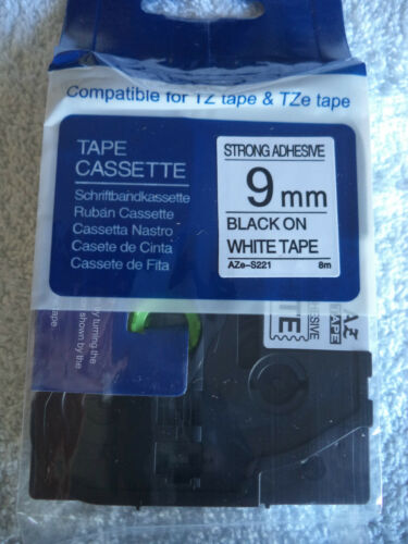 10 TZ S221 BLACK PRINT WHITE Label Tape Compatible TZe S221 26/' 9mm 3//4 BROTHER