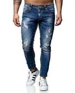 JEANS-Uomo-Pantaloni-Denim-BLU-STRAPPATI-SLIM-FIT-STRECH-m264