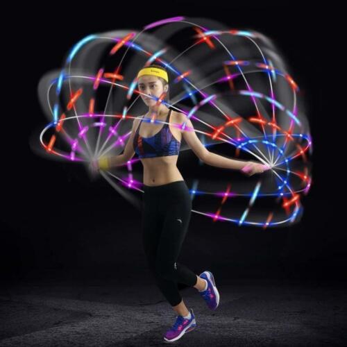 Led Fun Jump Rope Light Up Fitness Adjustable Flashing Color Blue Kids Adult