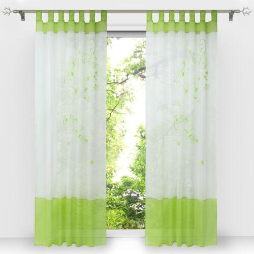 Gardinen Wohnzimmer Vorhänge Schlaufenschals Fenstergardine Modern Grün Bestickt