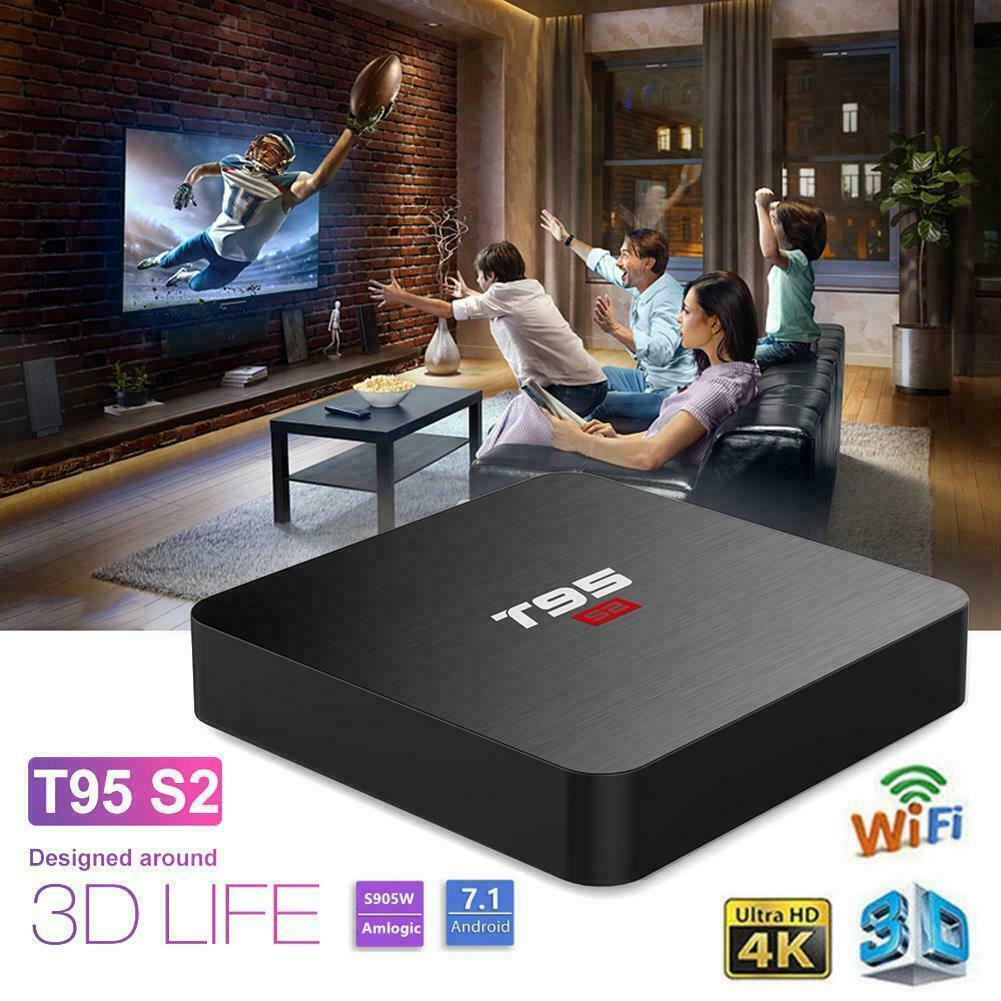 T95 S2 4K HD Smart TV Box Android 7.1 Quad Core 2GB+16GB WIFI 3D Media Streamer