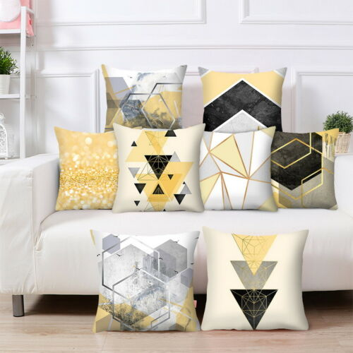 45x45cm Yellow Pillow Case Polyester Sofa Car Throw Cushion Cover Home Decor